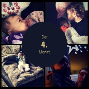 Das Bild zeigt eine Collage aus Bildern vom Baby aus den vergangenen 4 Wochen